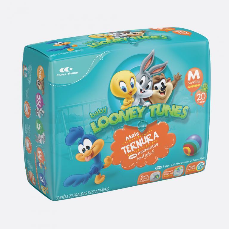Desenvolvimento do mockup 3D digital, packshot da embalagem da Fralda Looney Tunes tamanho M para o Grupo Carta Fabril, indústria de produtos para higiene pessoal.