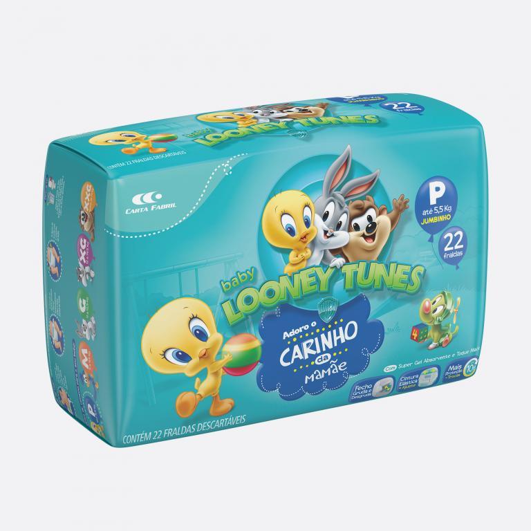 Desenvolvimento do mockup 3D digital, packshot da embalagem da Fralda Looney Tunes tamanho P para o Grupo Carta Fabril, indústria de produtos para higiene pessoal.