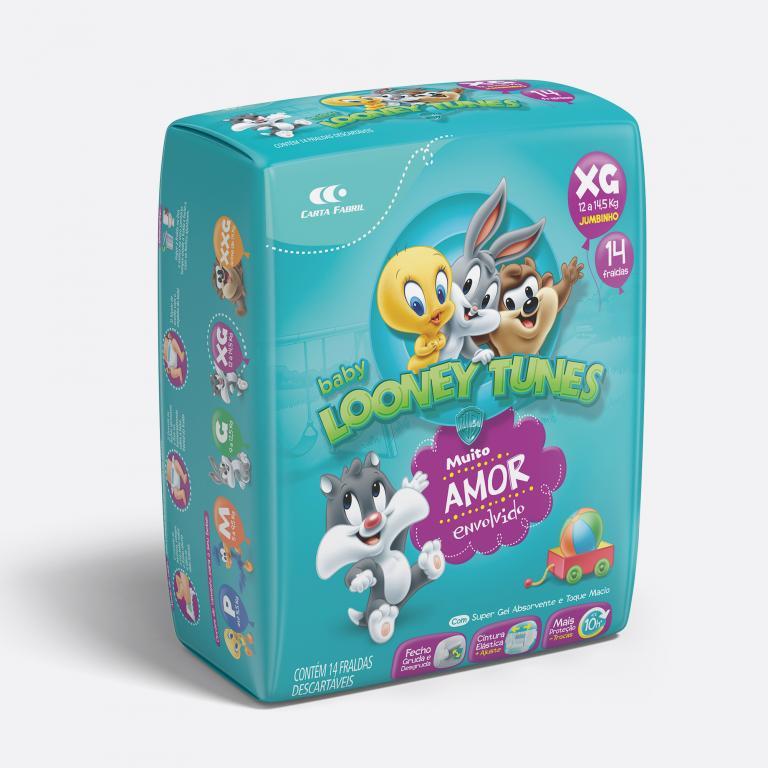 Desenvolvimento do mockup 3D digital, packshot da embalagem da Fralda Looney Tunes tamanho XG para o Grupo Carta Fabril, indústria de produtos para higiene pessoal.