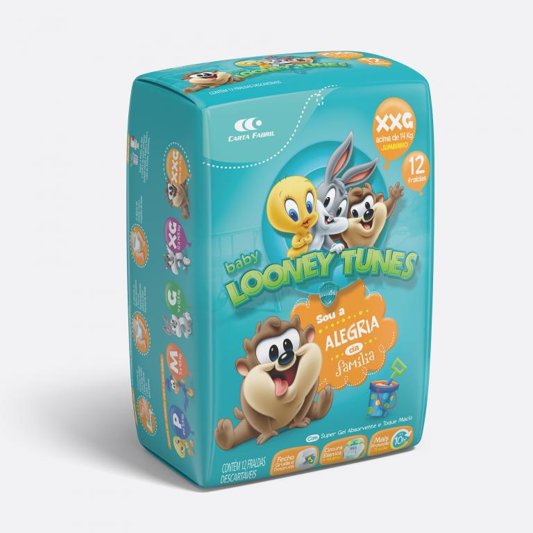Desenvolvimento do mockup 3D digital, packshot da embalagem da Fralda Looney Tunes tamanho XXG para o Grupo Carta Fabril, indústria de produtos para higiene pessoal.