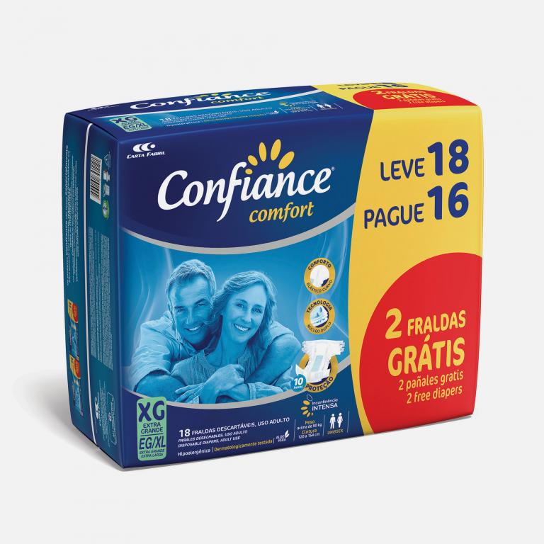 Desenvolvimento do mockup 3D digital, packshot da embalagem da Fralda Confiance L18-P16 para o Grupo Carta Fabril, indústria de produtos para higiene pessoal.