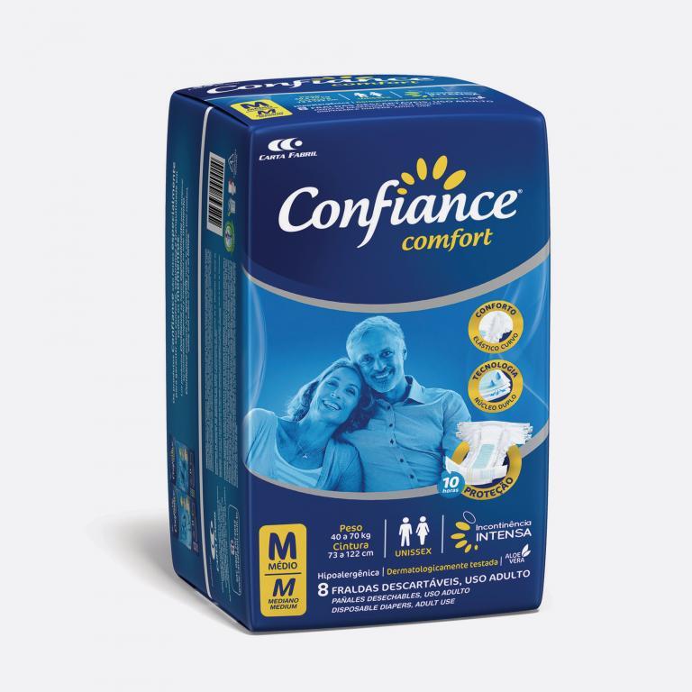 Desenvolvimento do mockup 3D digital, packshot da embalagem da Fralda Confiance M para o Grupo Carta Fabril, indústria de produtos para higiene pessoal.