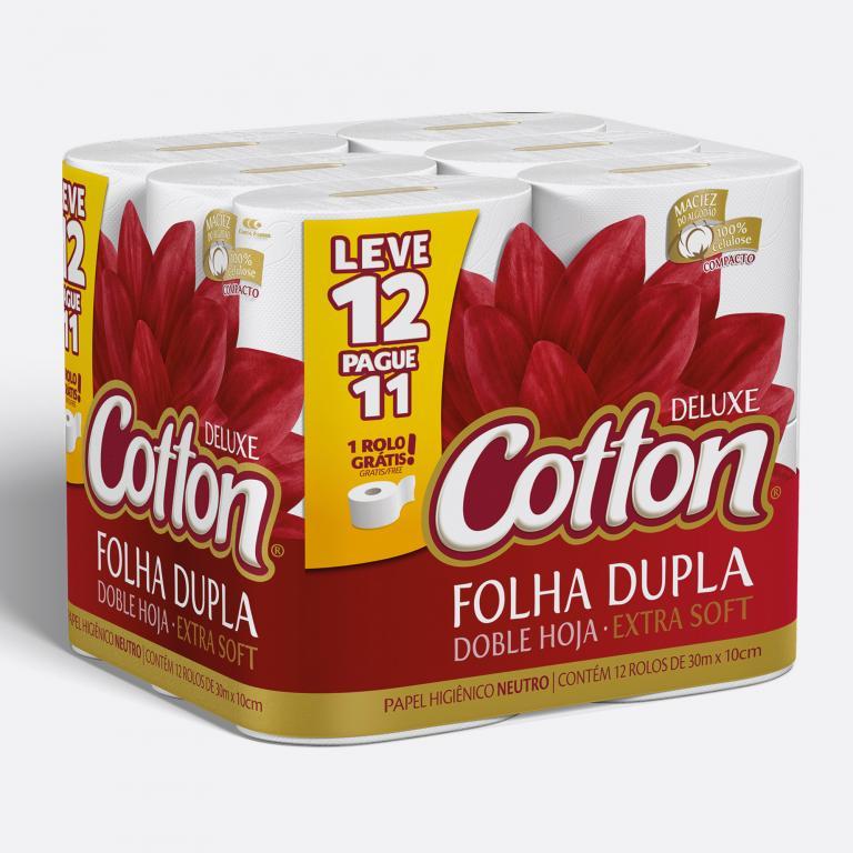 Desenvolvimento do mockup 3D digital, packshot da embalagem do Papel Higiênico Cotton leve 12 pague 11 para o Grupo Carta Fabril