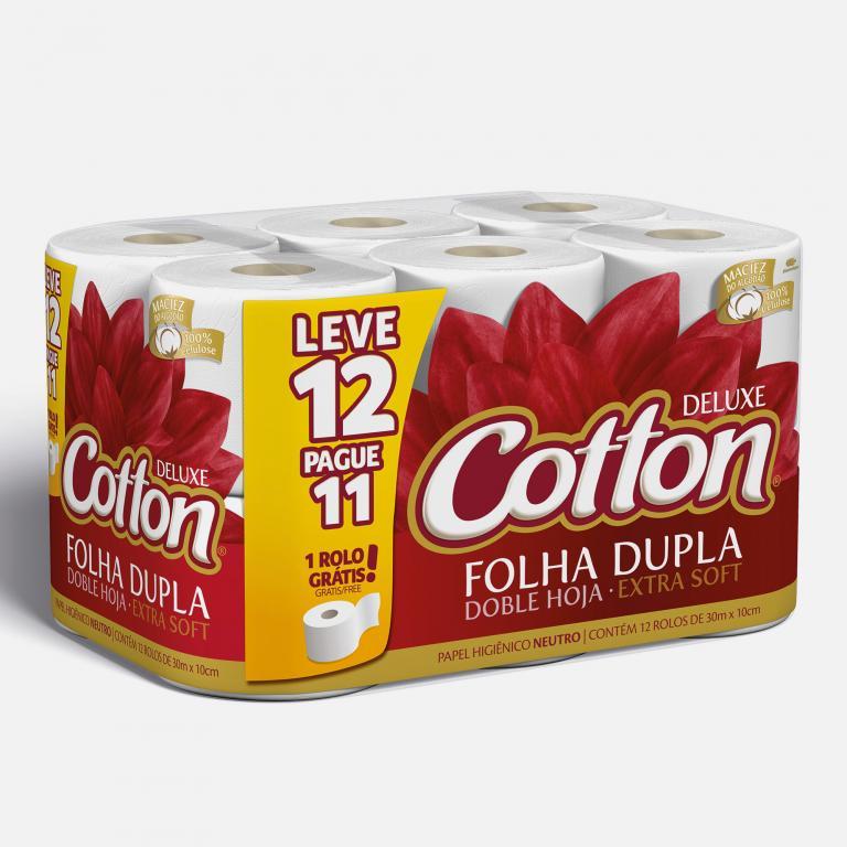 Desenvolvimento do mockup 3D digital, packshot da embalagem do Papel Higiênico Cotton 12 unidades para o Grupo Carta Fabril