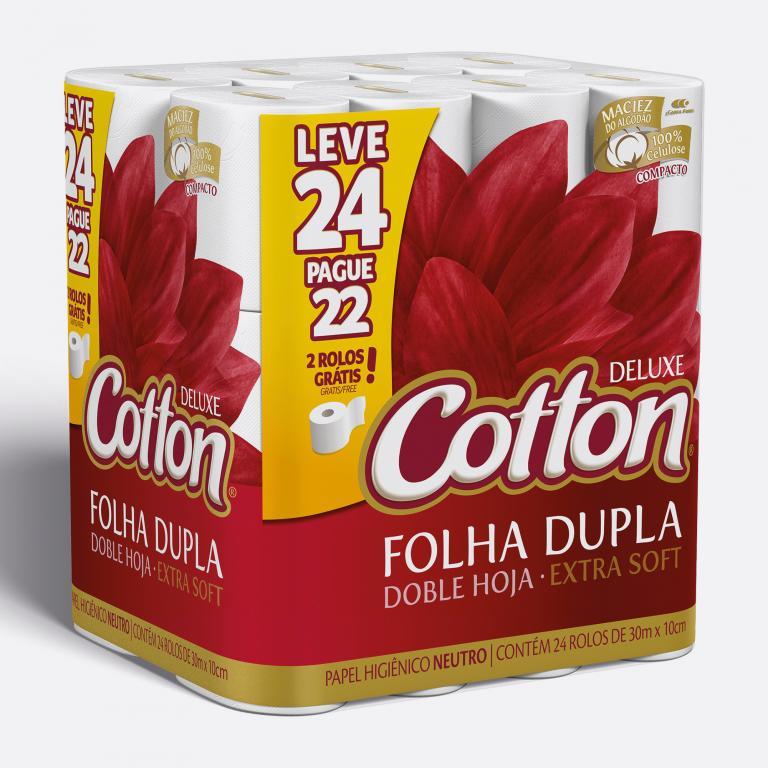Desenvolvimento do mockup 3D digital, packshot da embalagem do Papel Higiênico Cotton leve 24 pague 22 para o Grupo Carta Fabril