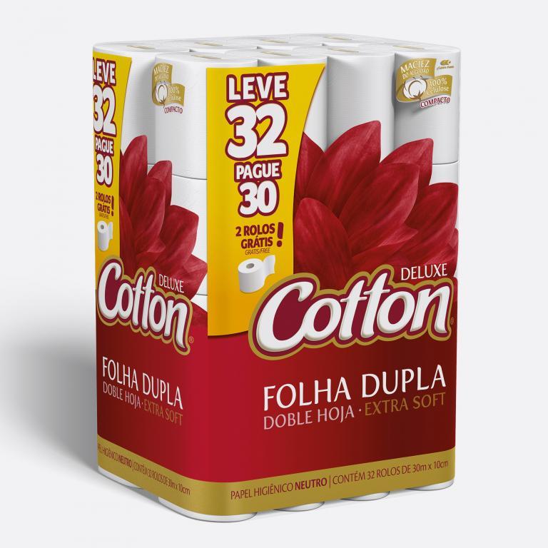 Desenvolvimento do mockup 3D digital, packshot da embalagem do Papel Higiênico Cotton leve 32 pague 30 para o Grupo Carta Fabril