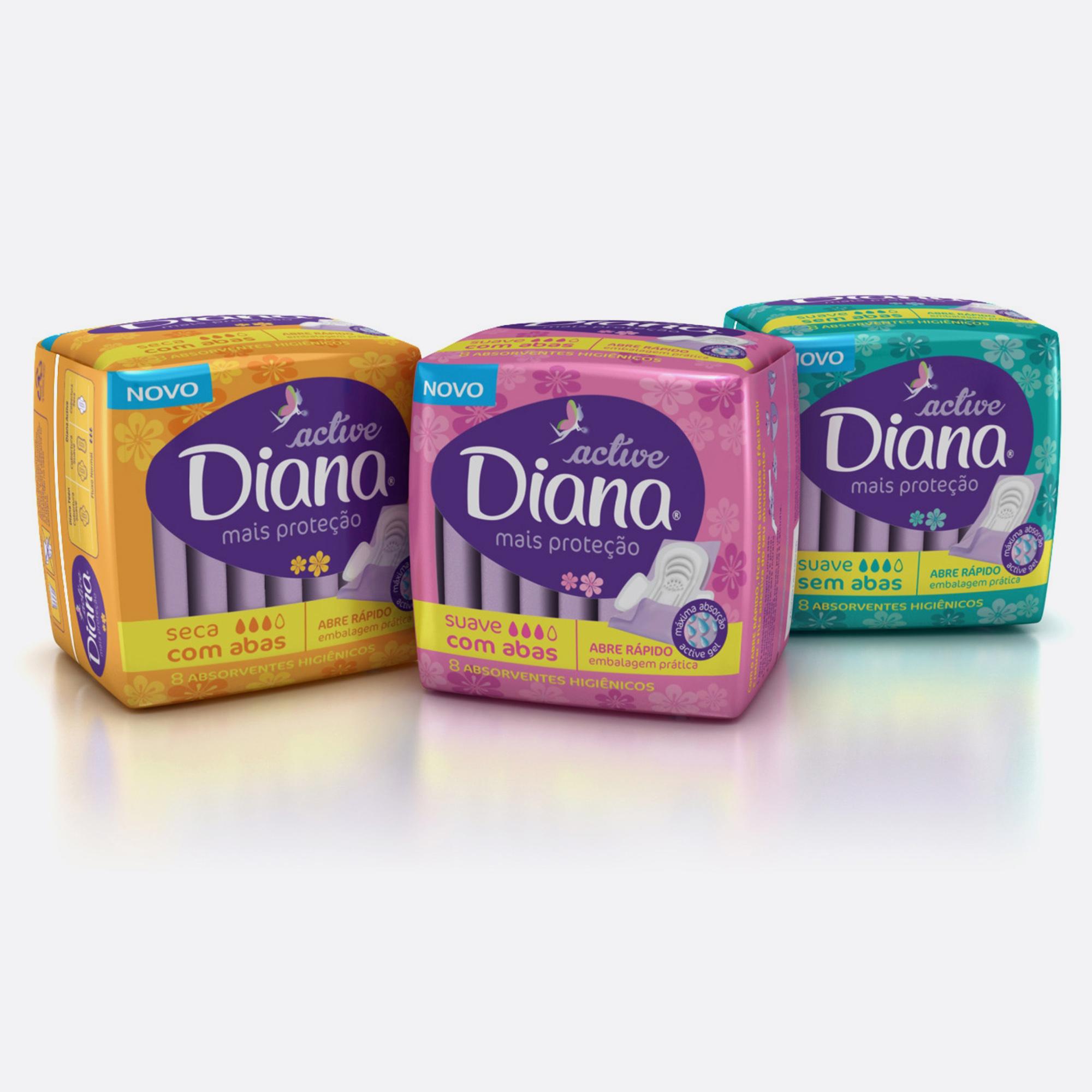 Desenvolvimento do mockup 3D digital, packshot da embalagem do absorvente Diana Active para o Grupo Carta Fabril