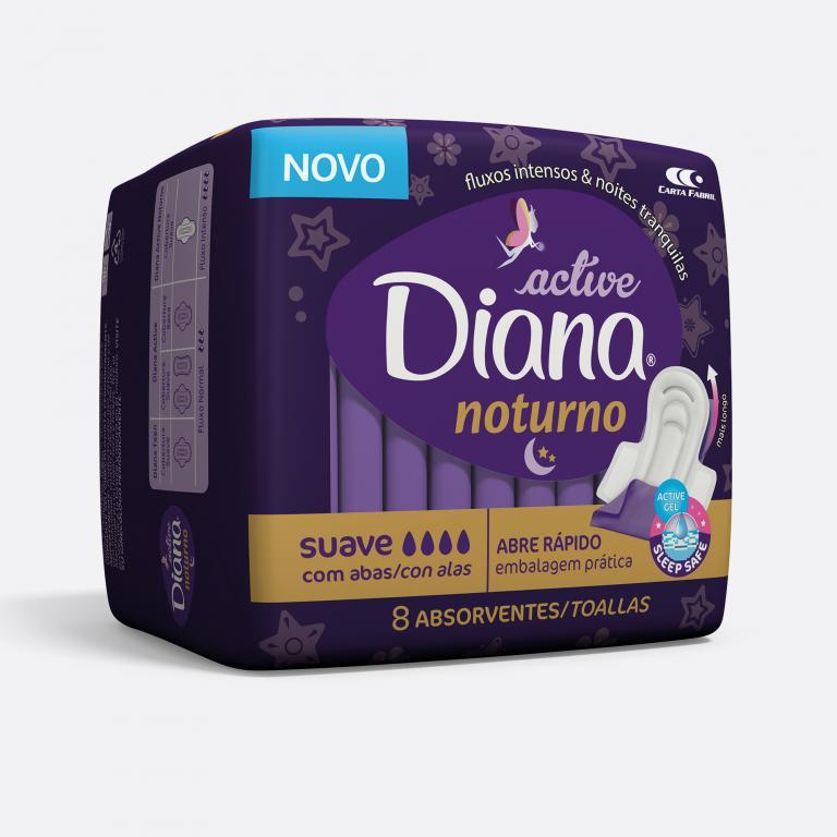 Desenvolvimento do mockup 3D digital, packshot da embalagem do absorvente Diana Noturno para o Grupo Carta Fabril
