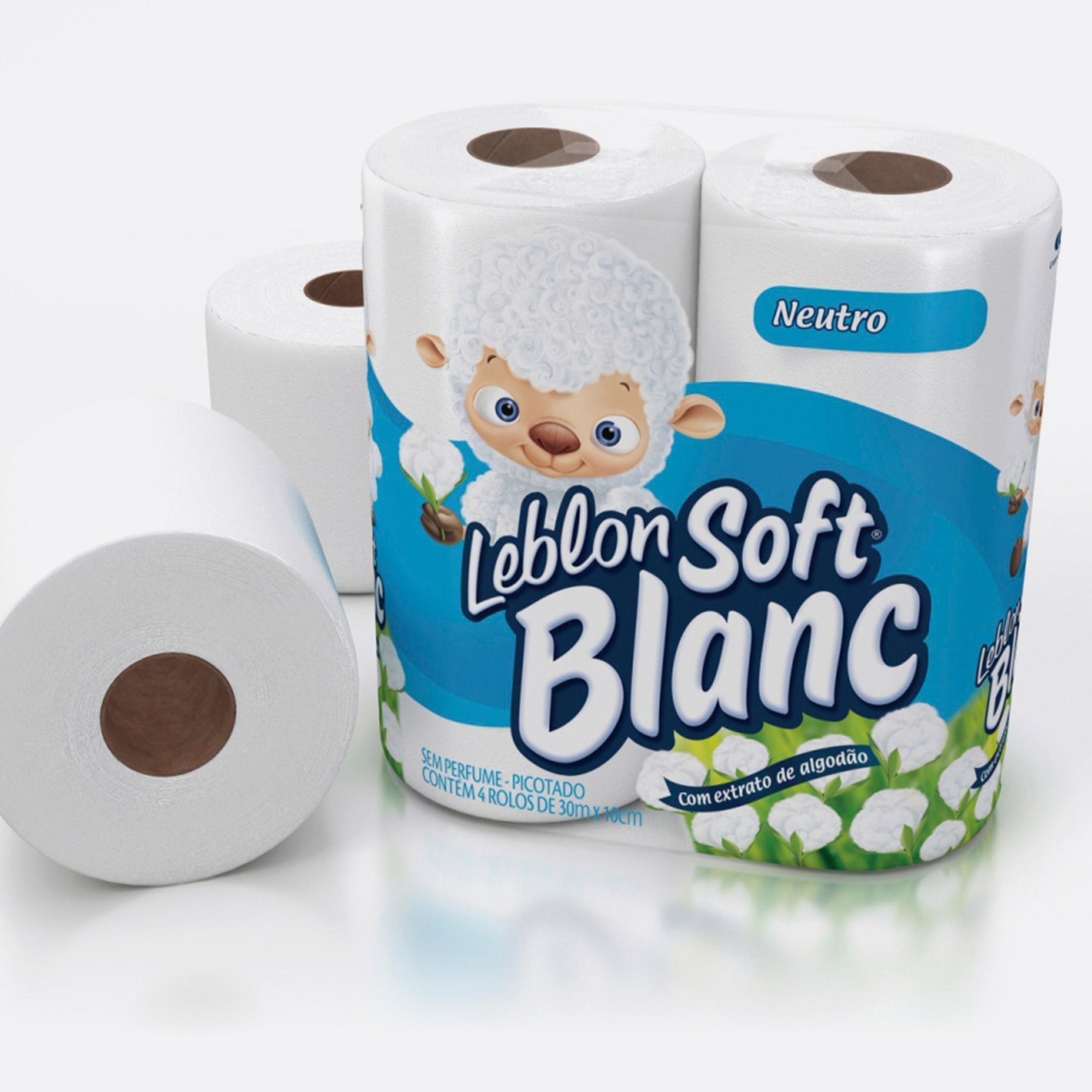 Desenvolvimento do mockup 3D digital, packshot das embalagem do papel higiênico Leblon Soft Blanc para o Grupo Carta Fabril