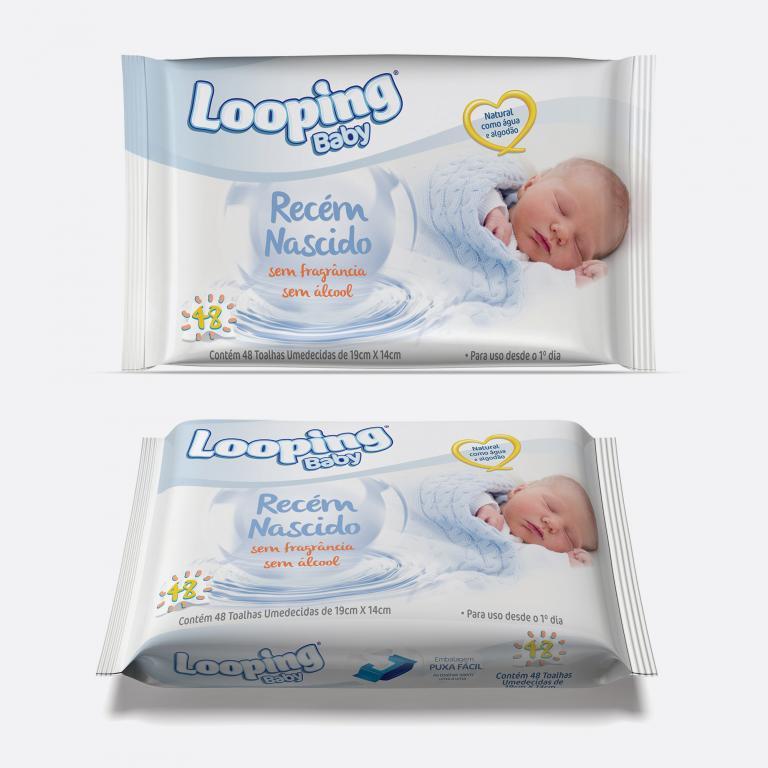 Desenvolvimento do mockup 3D digital, packshot da embalagem do lenço umedecido Looping Recém Nascido para o Grupo Carta Fabril