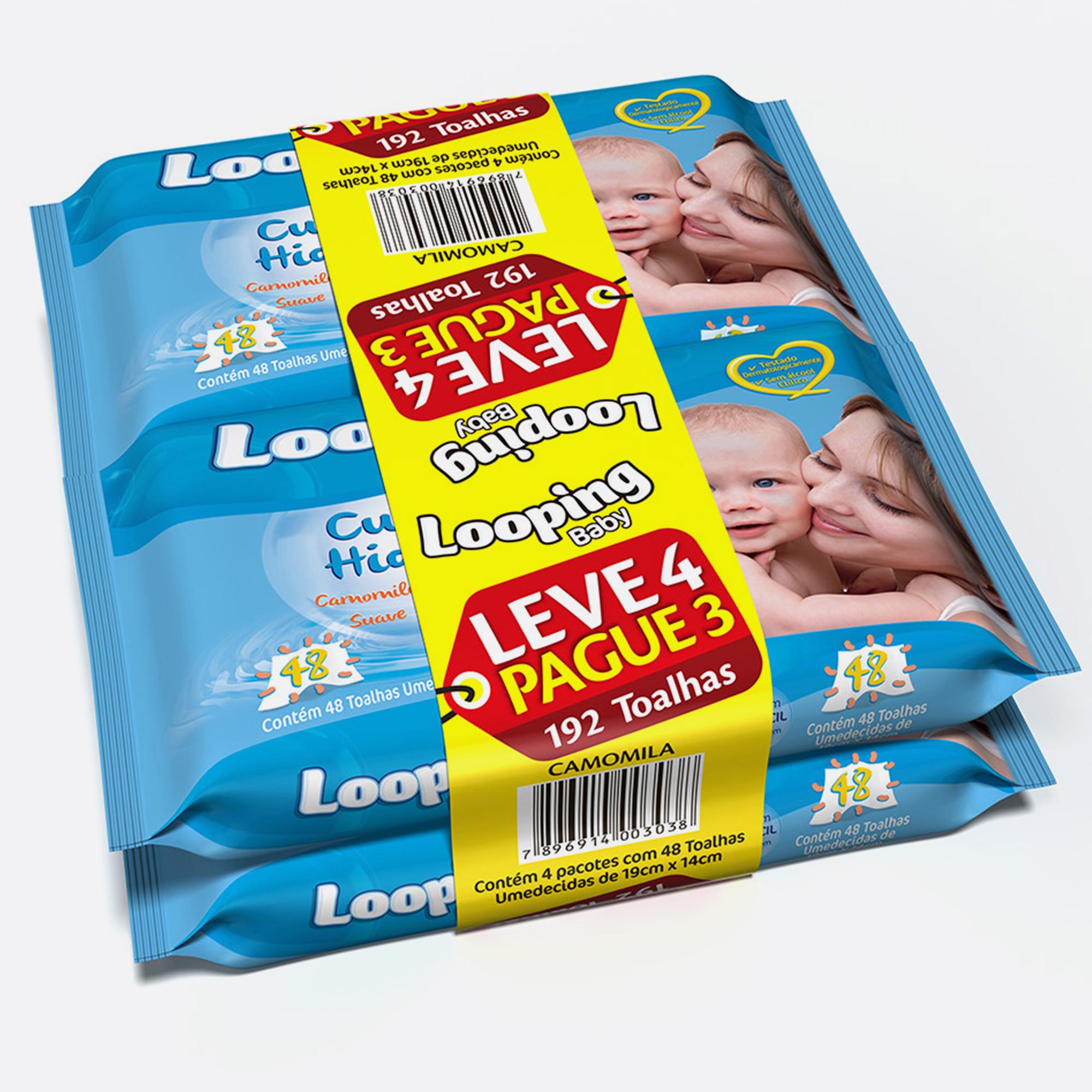 Desenvolvimento do mockup 3D digital, packshot da embalagem do lenço umedecido Looping Leve 4 Pague 3 para o Grupo Carta Fabril