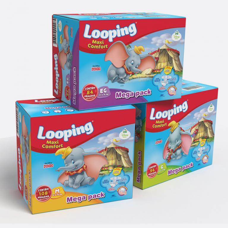 Desenvolvimento do mockup 3D digital, packshot da embalagem caixa da Fralda Looping Leve 4 Pague 3 para o Grupo Carta Fabril