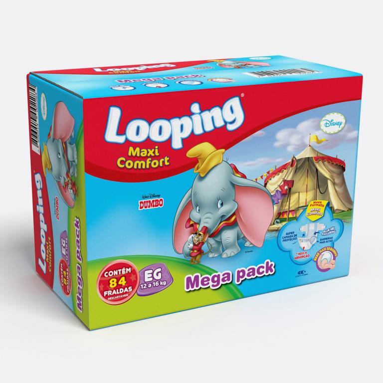 Desenvolvimento do mockup 3D digital, packshot das embalagens caixas das Fraldas Looping Leve 4 Pague 3 para o Grupo Carta Fabril