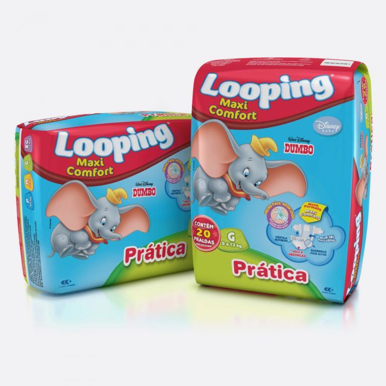 Desenvolvimento do mockup 3D digital, packshot das embalagem das Fraldas Looping G para o Grupo Carta Fabril