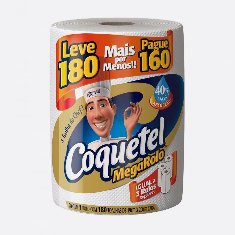 Desenvolvimento do mockup 3D digital, packshot das embalagem do papel toalha Coquetel Leve 180 pague 160 para o Grupo Carta Fabril