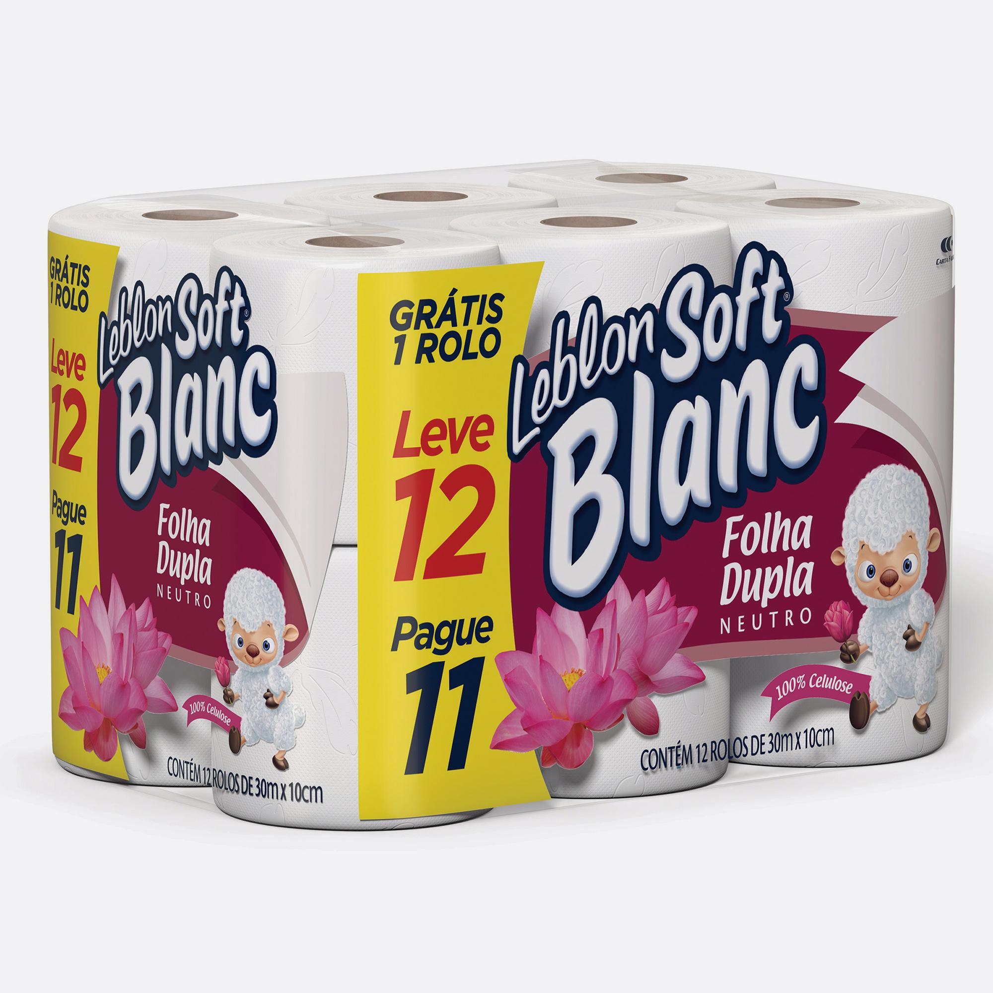 Desenvolvimento do mockup 3D digital, packshot das embalagem do papel higiênico Leblon Soft Blanc Leve 12 pague 11 para o Grupo Carta Fabril
