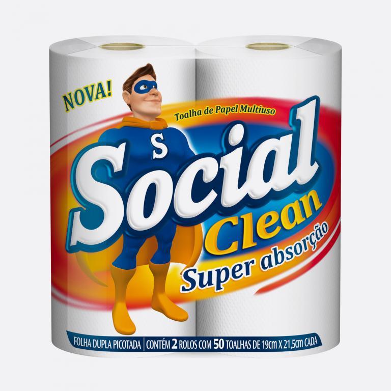 Desenvolvimento do mockup digital, packshot da embalagem do Papel Toalha Social Clean para o Grupo Carta Fabril, indústria de produtos para higiene pessoal.