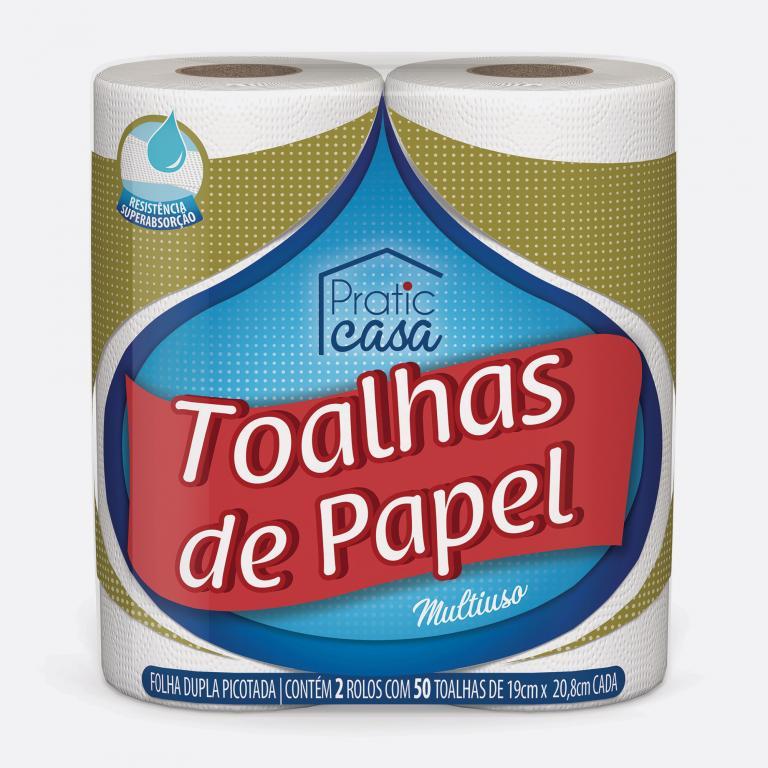 Desenvolvimento do mockup digital, packshot da embalagem do Papel Toalha Pratic Casa para o Grupo Carta Fabril, indústria de produtos para higiene pessoal.