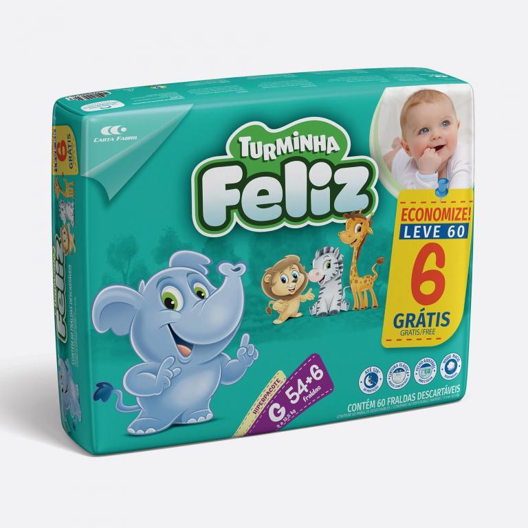 Desenvolvimento do mockup 3D digital, packshot da embalagem Fralda Turminha Feliz Tamanho G - 54 Unidades para o Grupo Carta Fabril, indústria de produtos para higiene pessoal.