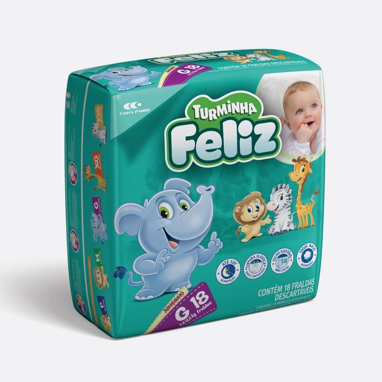 Desenvolvimento do mockup 3D digital, packshot da embalagem Fralda Turminha Feliz Tamanho G - 18 Unidades para o Grupo Carta Fabril, indústria de produtos para higiene pessoal.