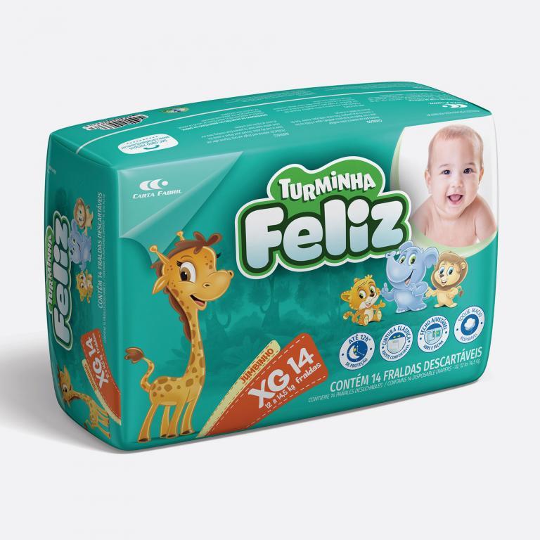 Desenvolvimento do mockup 3D digital, packshot da embalagem Fralda Turminha Feliz Tamanho XG - 14 Unidades para o Grupo Carta Fabril, indústria de produtos para higiene pessoal.