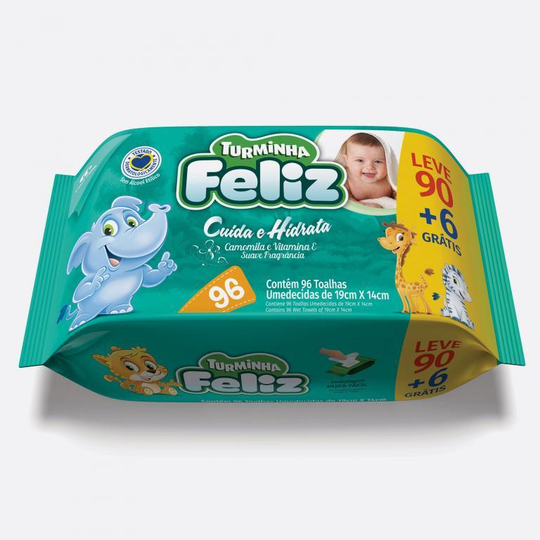 Desenvolvimento do mockup 3D digital, packshot da embalagem do Lenço Umedecido Turminha Feliz 96 unidades para o Grupo Carta Fabril, indústria de produtos para higiene pessoal.