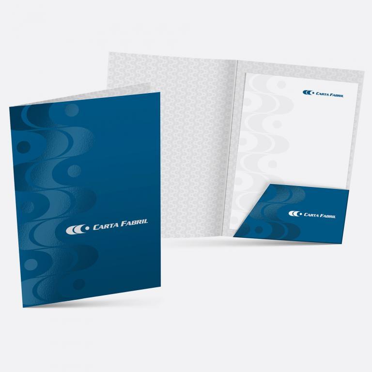 Planejamento visual - Pasta para documentos Carta Fabril - produtos de higiene pessoal.