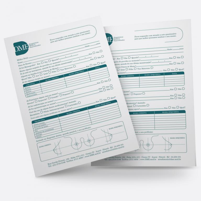 Design Gráfico - Planejamento visual - Ficha Avaliação Mamografia DME Exames Diagnósticos