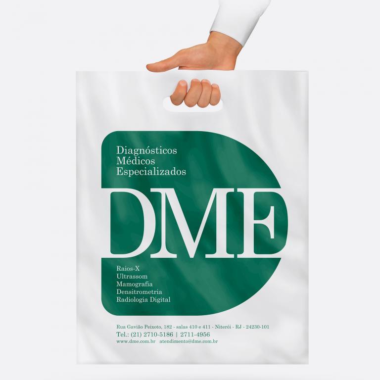 Design gráfico - Planejamento visual - Sacola plástica para exames DME Exames Diagnósticos