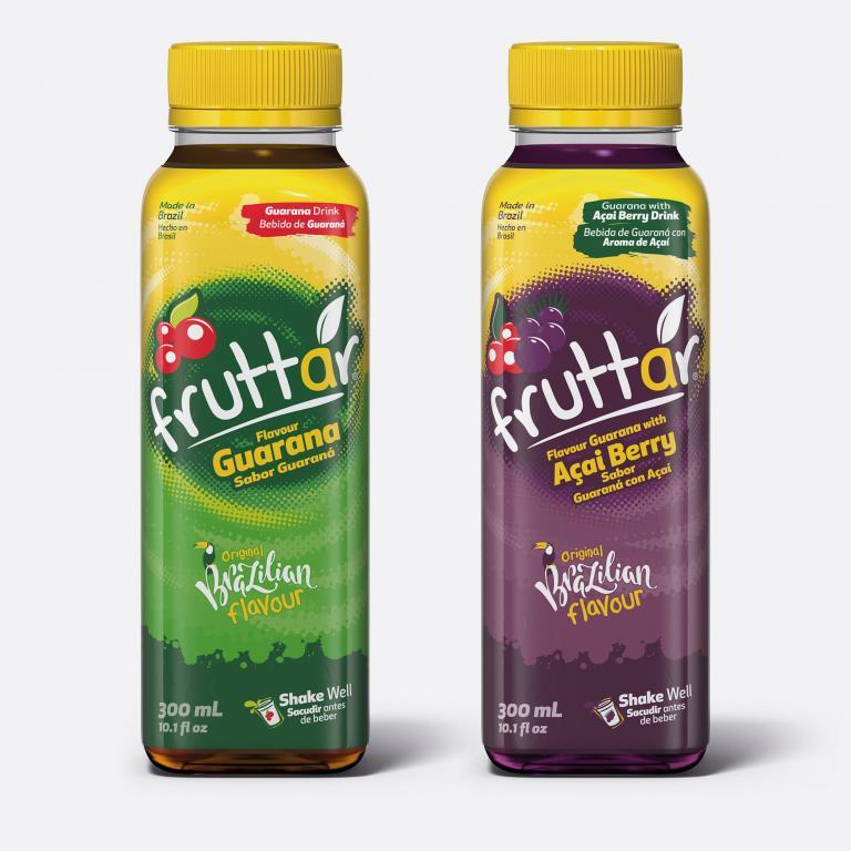 Desenvolvimento do mockup digital, packshot da embalagem do Guaraná Fruttar Sleeve para a Fruttar indústria de refrescos e sucos naturais.
