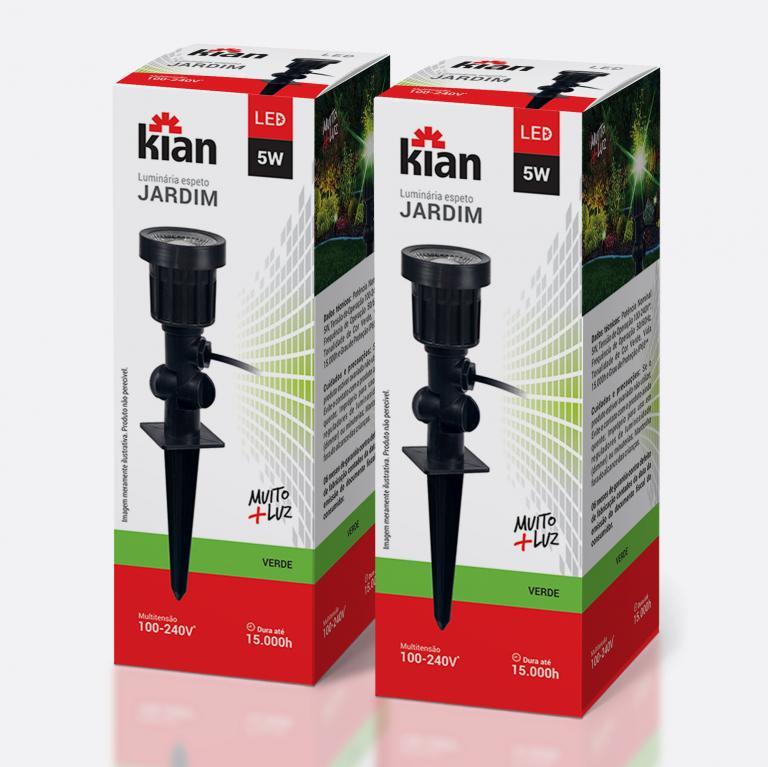 Desenvolvimento do mockup digital packshot da embalagem da Luminária Jardim para Kian Iluminação.