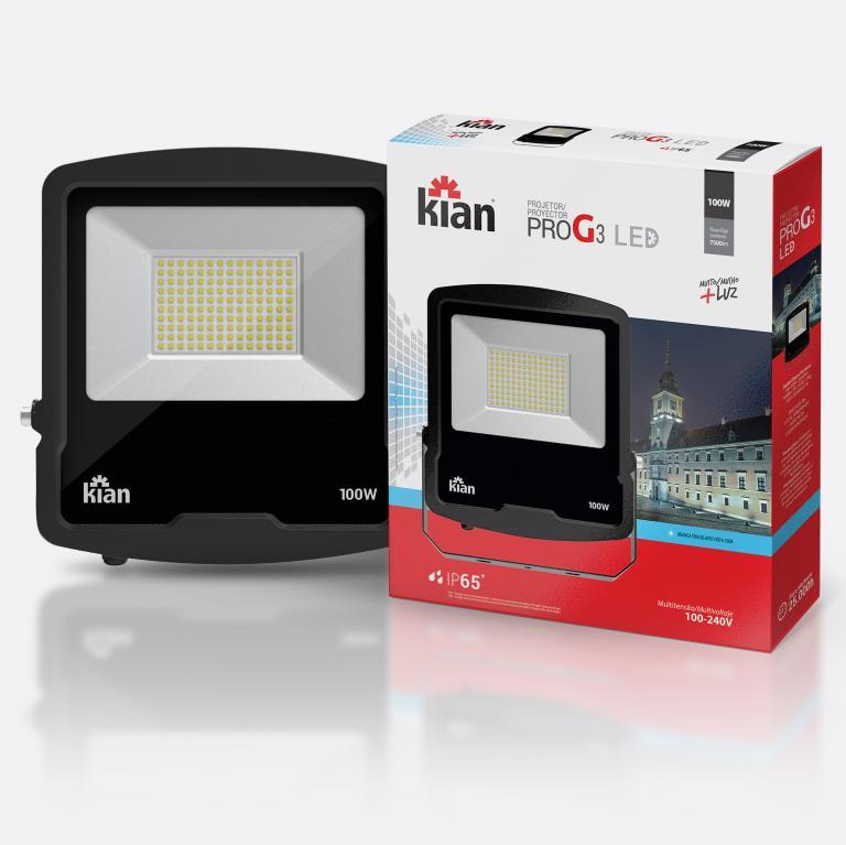 Desenvolvimento do mockup digital packshot da embalagem do Mockup Projetor-ProG3 LED para Kian Iluminação.