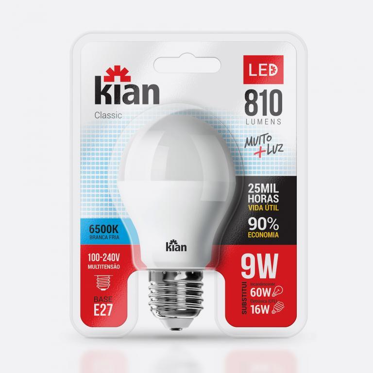 Desenvolvimento do mockup digital, packshot da embalagem da Lâmpada-6500k LED para Kian Iluminação.