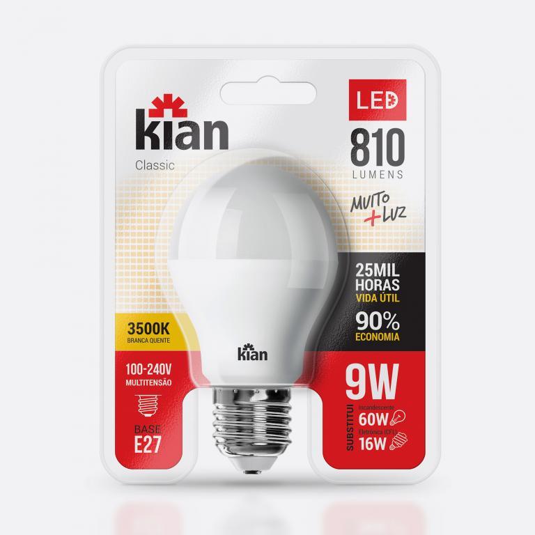Desenvolvimento do mockup digital, packshot da embalagem da Lâmpada-3500k LED para Kian Iluminação.