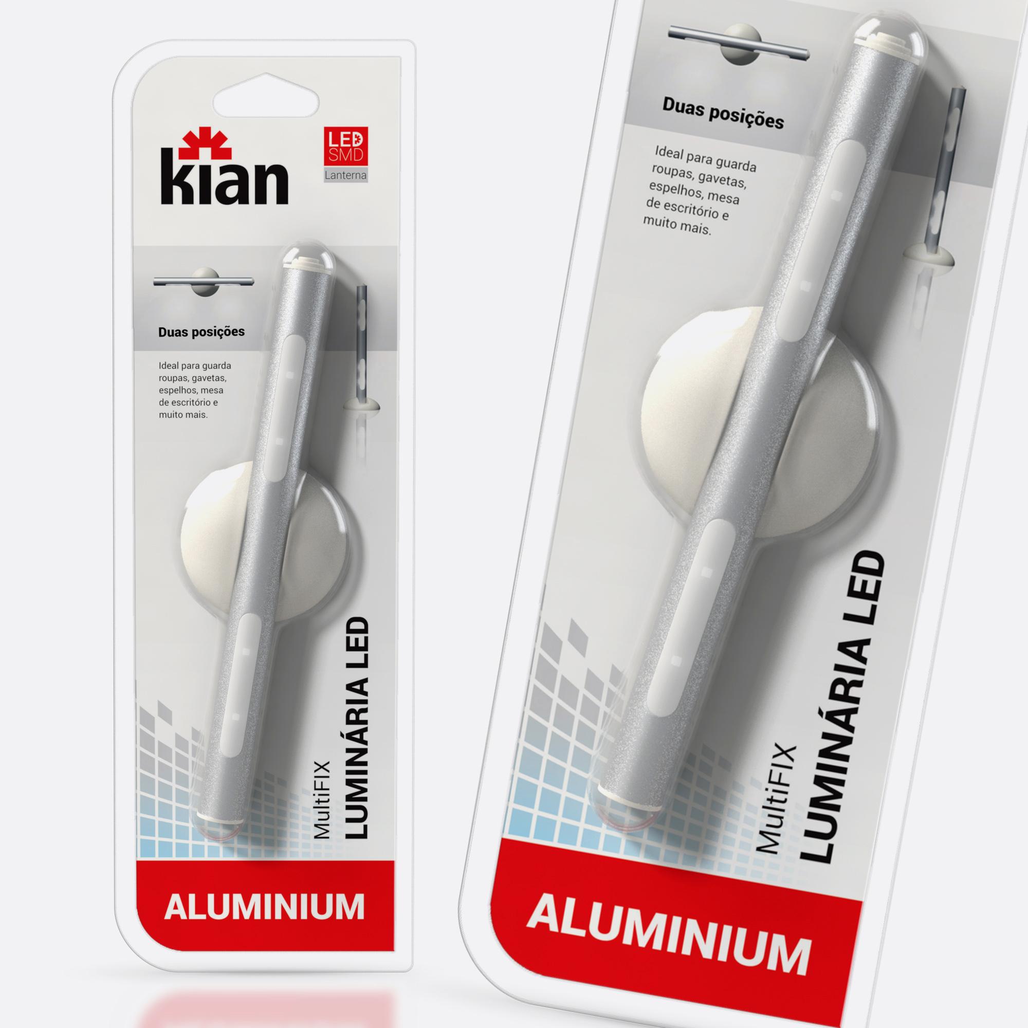 Desenvolvimento do mockup digital packshot da embalagem da Luminária portátil para Kian Iluminação.