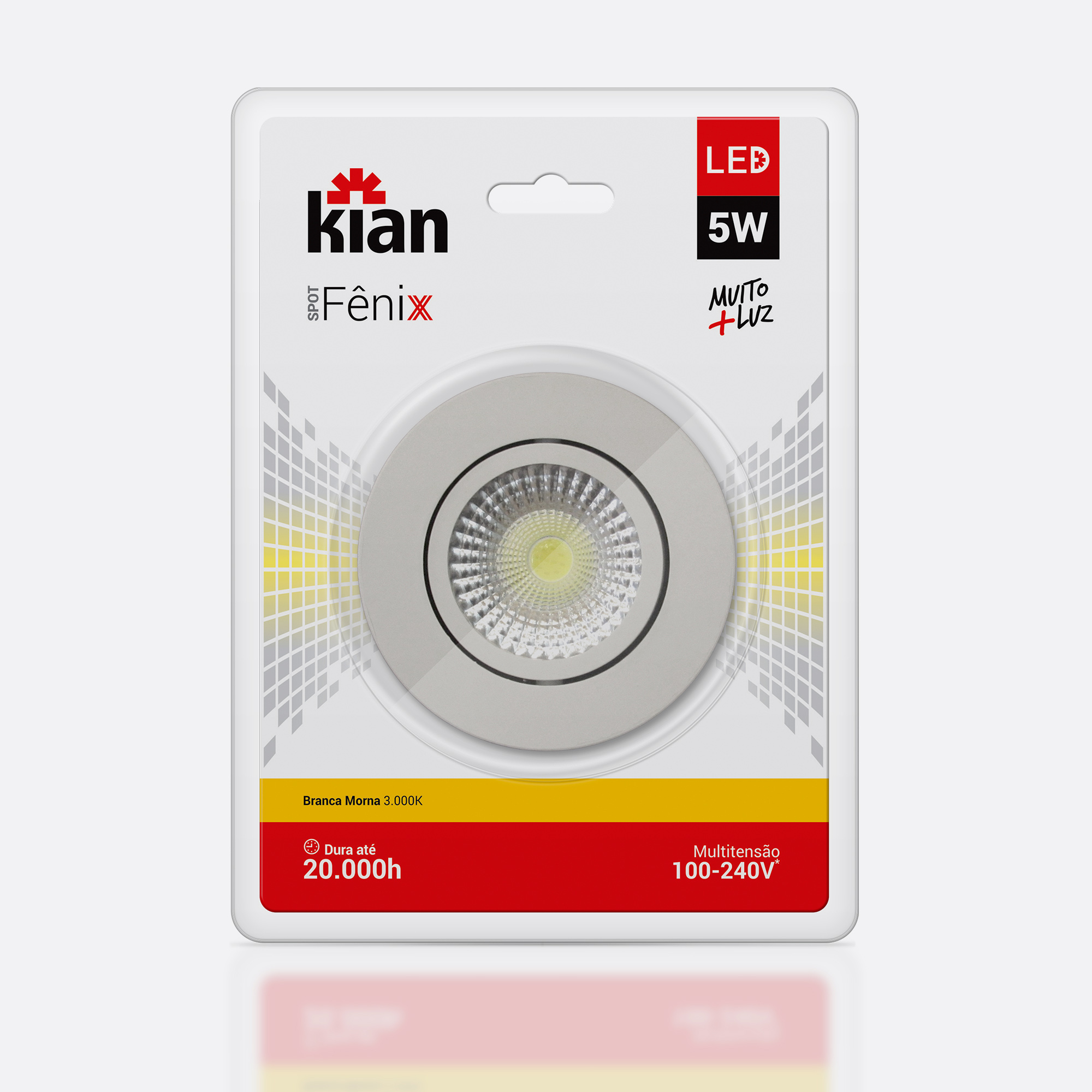 Desenvolvimento do mockup digital packshot da embalagem da Luminária Spot para Kian Iluminação.