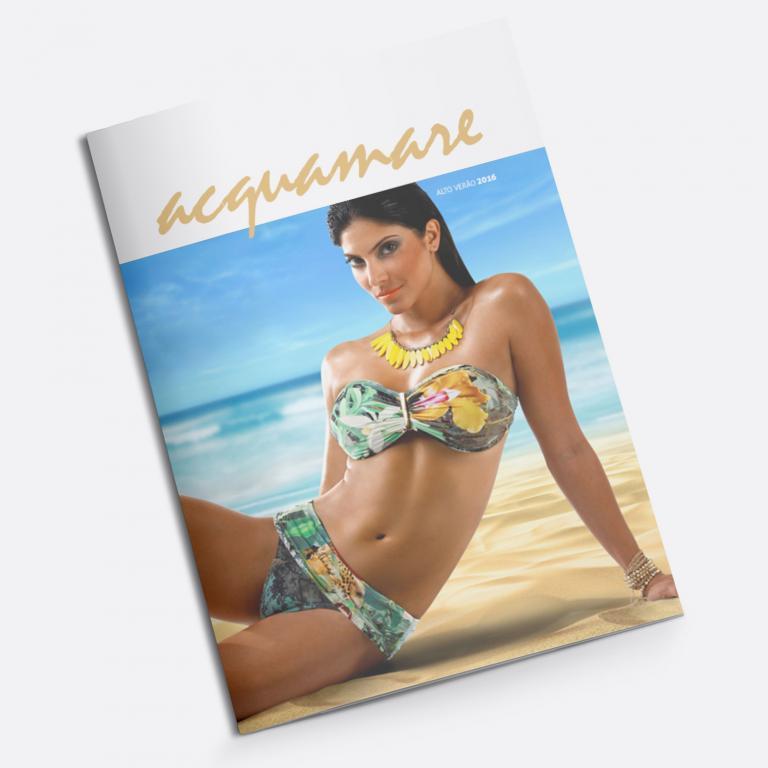 Planejamento visual da capa do catálogo de produtos para a Acquamare, indústria e comércio de moda praia