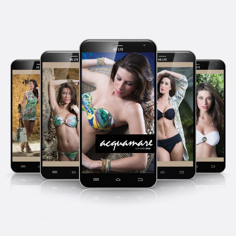 Planejamento visual do catálogo de produtos de moda praia, em formato PDF otimizado para Smartphone para a Acquamare, indústria e comércio de moda praia.